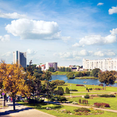 svisloch: Minsk Downtown View with Svisloch River  Capital of Belarus