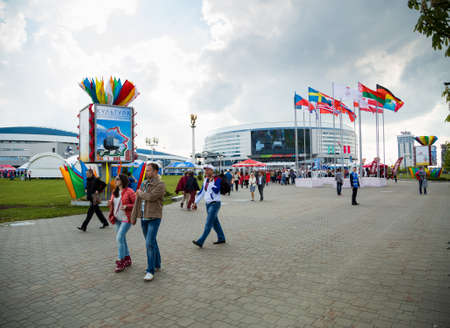 MINSK, BELARUS - MAY 9 - Minsk Arena on May 9, 2014 in Belarus  Ice Hockey Championship Opening  Stadium with Flags of Countries Participating in 2014 World Championship IIHF