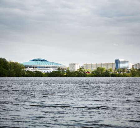 MINSK, BELARUS - MAY 11 - Chizhovka Arena on May 11, 2014 in Minsk, Belarus  The Venue for Ice Hockey 2014 World Championship IIHF  Minsk Cityscape