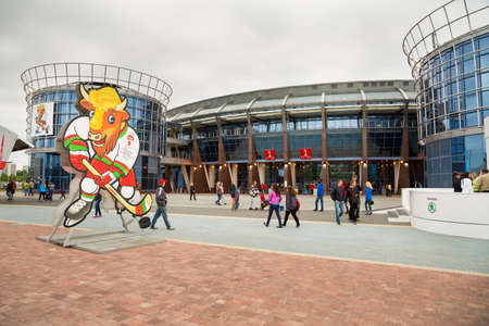 MINSK, BELARUS - MAY 11 - Chizhovka Arena with Volat Mascot on May 11, 2014 in Minsk, Belarus  The Venue for Ice Hockey 2014 World Championship IIHF