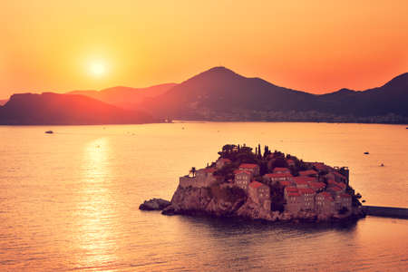 Sveti Stefan Island at Sunset in Montenegro  Balkans, Adriatic Sea  European Summer Resort  Copy Space  Toned Photo  photo