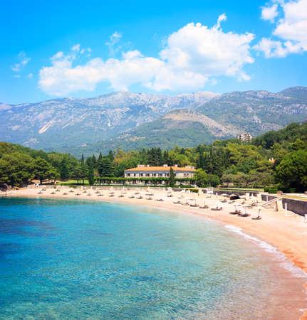 montenegro: Luxury Beach and Hotel in Montenegro. Balkans, Adriatic Sea. Mediterranean Europe Summer Resort. Copy Space.