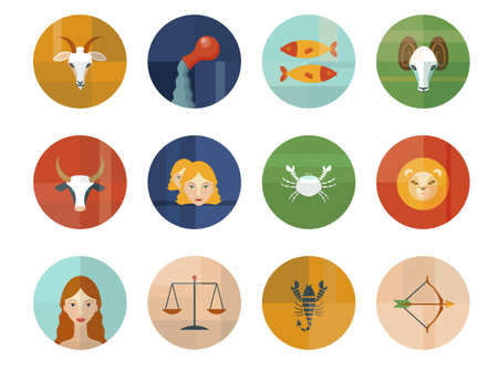 Set of Astrological Zodiac Symbols  Horoscope Signs  Modern Flat Design  Vector
