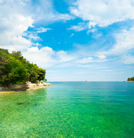 Summer Adriatic Sea Landscape in Croatia with Crystal Clear Azure Water  Mediterranean Vacation Concept  Copy Space