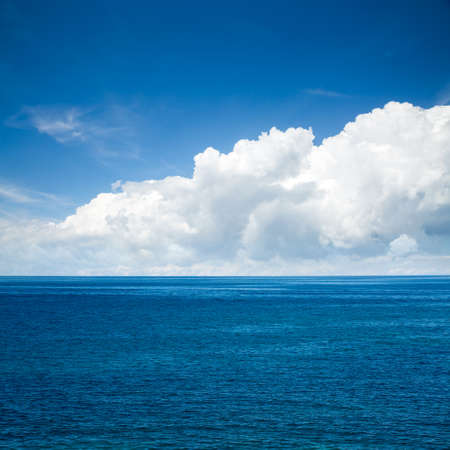 adriatic: Beautiful Blue Sea with Majestic Clouds. Square Photo with Copy Space. Stock Photo