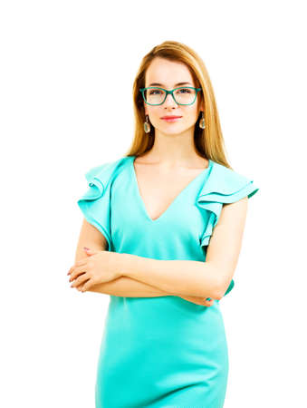 woman dress: Elegant Young Woman in Fashion Turquoise Dress and Glasses Isolated on White Background Stock Photo