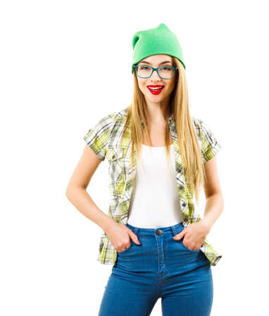 Street Style Hipster Girl Isolated on White. Trendy Casual Youth Fashion Outfit in Spring or Summer. Stock Photo