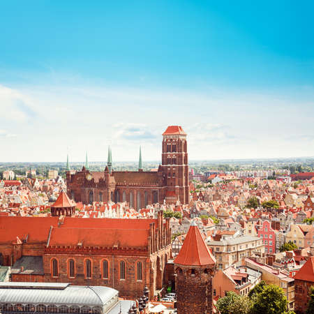Gdansk Old Town Top View. St. Mary Church. Popular Touristic Destination at Baltic Sea in Poland, Europe. Square Toned Photo with Copy Space.