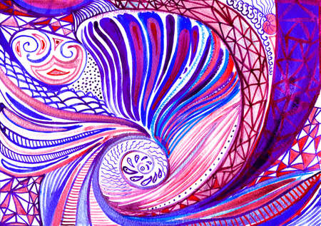 picturesque: Abstract Spiral Watercolor Background. Colorful Red and Purple Pattern. Hand Drawn Illustration.