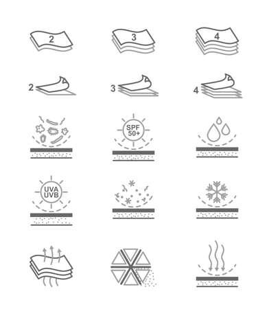 Semplice Set di vettore Tessuto Caratteristica relativa linea di icone. Multi strati, impermeabile, antivento, traspirante fibra, Ultraviolet Protection and More. Stroke modificabile. Vettoriali