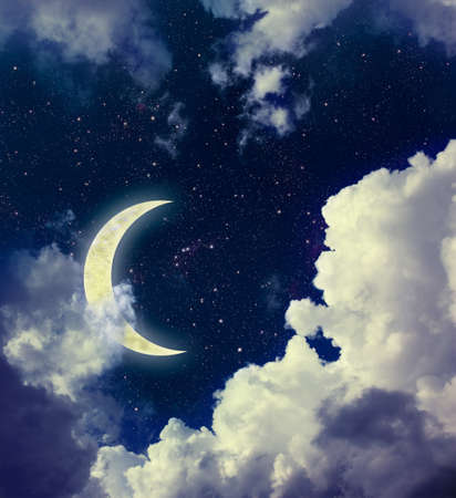 picturesque: Dark Blue Sky with Picturesque Detailed Clouds, Sparkling Stars and Crescent Moon. Digital Illustration. Beautiful Romantic Night Background.