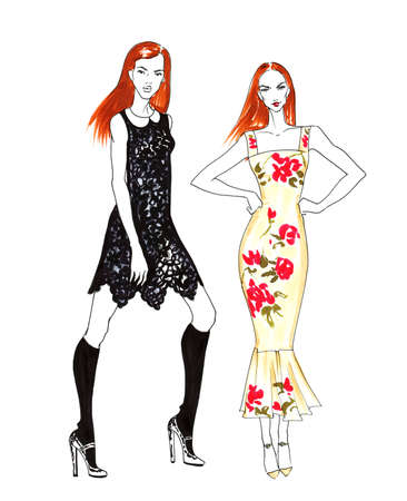 stylish woman: Fashion Sketch of Two Beautiful Redhead Girls. Hand Drawn Modern Stylish Woman Concept in Red and Black Colors.