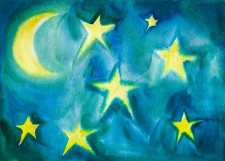 Moon and Stars. Watercolor Children Style Painting. Abstract Blue and Yellow Kids Styled Background. Hand Drawn Illustration.
