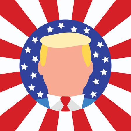 새로운 미국 대통령. 2016 년 선거 당선자 플랫 스타일 벡터 일러스트 레이 션. 미국의 스타와 줄무늬 플래그 배경입니다.