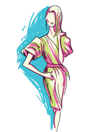female girl: Fashion Sketch of Beautiful Woman. Glamour Beauty Vogue Girl. Hand Drawn Modern Fashionable Female Style Concept. Minimalism Art and Design.  Illustration. Illustration