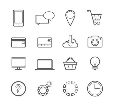 pictogrammes: Simple Set of Web Shopping  Line Icons. Online Shop Outline Style Icon. Pictogrammes of Phone, Dialog, Location, Basket, Credit Card, Photo, Help, Service and More.