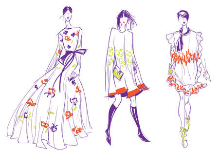 Fashion Sketch of Three Beautiful Women. Hand Drawn Modern Stylish Girls Concept in Purple, Red and Green Colors. Vector Illustration.