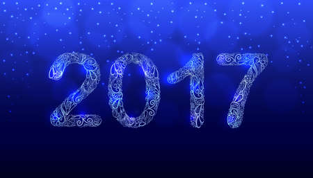 2017 New Year Hand Drawn Vector. Shiny Creative Ornament Numbers Design. Dark Blue Background with Bokeh and Sparkling Snowflakes. Illustration Template for Calendar or Greeting Card.