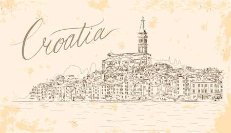 Rovinj View. EPS 10 Vector Sketch. Medieval Mediterranean Town in Croatia, Europe. Popular Tourist Resort of Istria at Adriatic Sea. Vintage Styled Illustration.