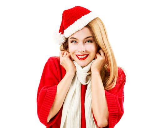 Smiling Christmas Woman in Red Clothes Isolated on White Background. Nice Happy Girl . Winter Female Fashion Portrait. Banco de Imagens