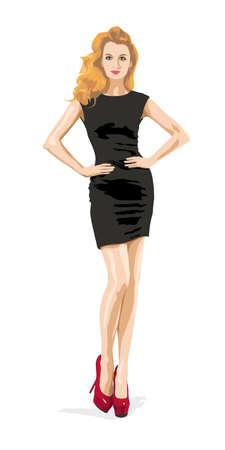 Full Length Illustratie van een sexy blonde vrouw in Little Black Fashion Jurk met handen op de heupen. Mooie Vrouwelijke Model. Elegant Meisje.