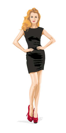 Full Length Illustration of a Sexy Blonde Woman in Little Black Fashion Dress with Hands on Hips. Beautiful Female Model. Elegant Girl. Imagens - 74397463