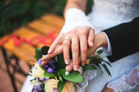ring finger: bouquet hand wedding ring finger couple married
