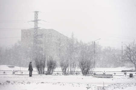 snowstorm: snowstorm in Russia, winter danger background urban