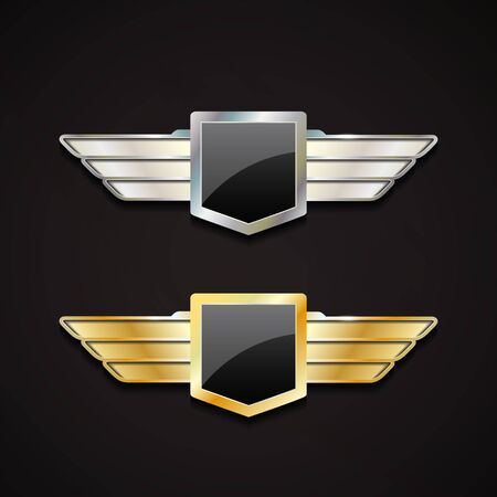 Set of gold and silver emblems with wings.