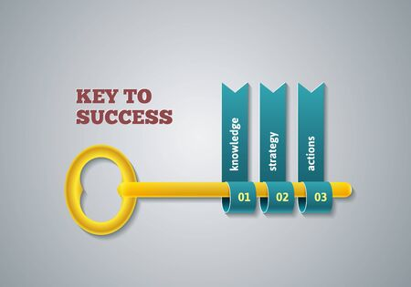 option key: Key to success illustration. Business steps infographic concept.  Illustration