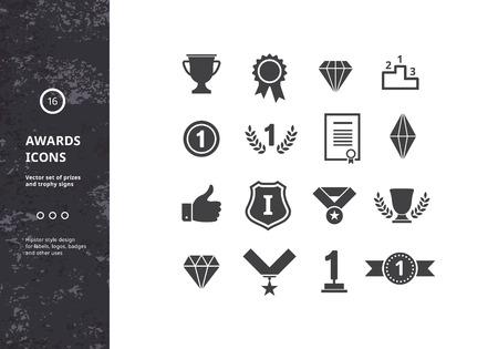 Auszeichnungen Icons. Vector Set von Preisen und Trophäenschilder. Hipster Designs für Etiketten, Abzeichen und Logos. Standard-Bild - 44262222