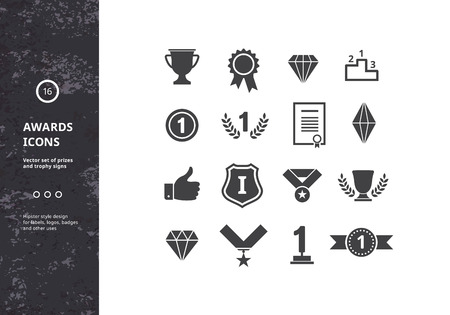 premios: Premios Iconos. Vector Conjunto de premios y el trofeo de los signos. Hipster diseños de etiquetas, escudos y logotipos.