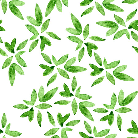 spring green: Green vectorized watercolor drawing with set of leaves Illustration