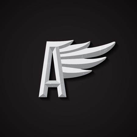 airline: Faceted Letter A with Wing bridddy. Corporate Symbol for Airlines. Vector Business Concert.