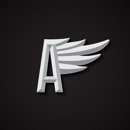 ali angelo: Sfaccettato Lettera A con ala bridddy. Simbolo aziendale per Airlines. Vector Business Concerto. Vettoriali