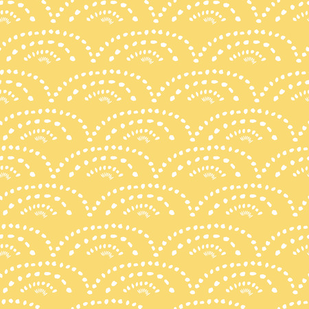 Hand drawn white lace on yellow background. Vector seamless pattern