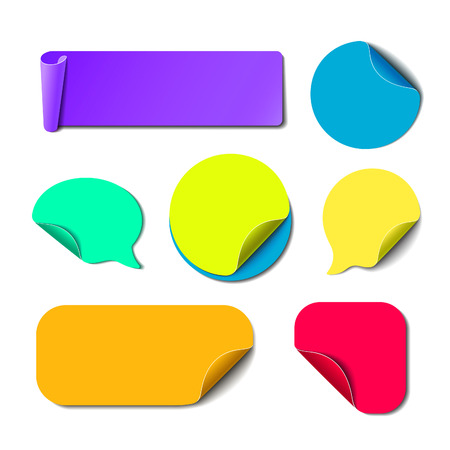 peel: Set of isolated colorful paper stickers. Square, round, rectangle and speech bubbles backgrounds. Vector labels illustration.