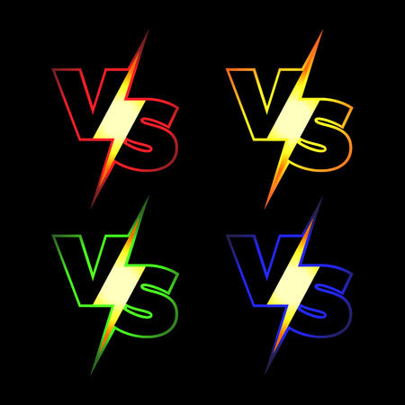 Versus Vector Icons. VS Letters with Glowing Lightning.
