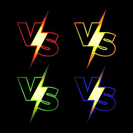 peleando: Versus iconos vectoriales. VS Letras con Resplandeciente relámpago.