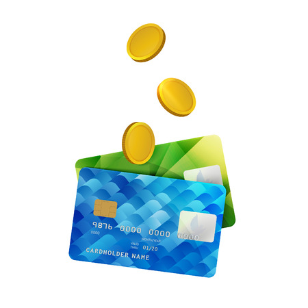 cashless: Two Colorful Plastic credit Plastic Cards with Gold Coins. Vector Illustration of Business, Success, Money, Bank, Cashless Payments, Shopping and Others Concepts.