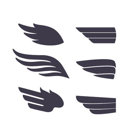 템플릿 새 무기의 집합입니다. 문신, 플라스틱, 라벨 및 아이콘 벡터 기호입니다. 장식 격리 된 날개.
