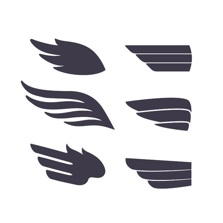Conjunto de Pájaros Plantilla armas. Vector sesión para Tatuajes, plástico, etiquetas e iconos. Alas aisladas decorativas.