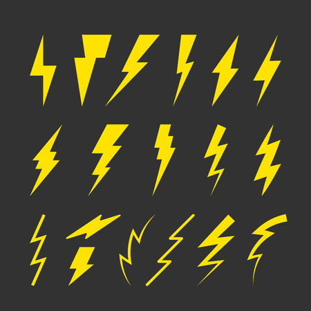 danger signs: Set of Yellow Thunderbolt Symbols. Vector Danger Signs. Electrical Power Silhouettes Icons. Zig Zag Plastic Elements. Illustration