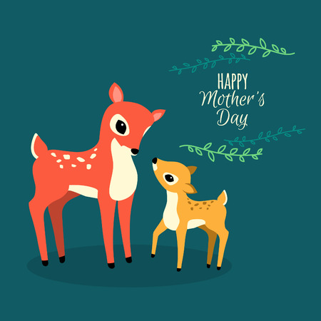 venado: Ilustración Venados familia. Flat Wild Animals Cartoon. Tarjeta vectorial Día Creativo de la Madre.
