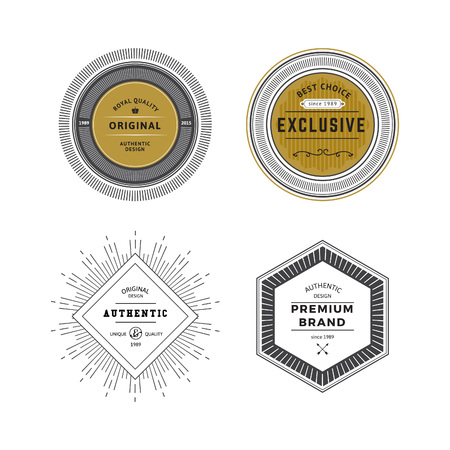 Grunge Vintage Premium Labels Set. Vector Retro Design Elements for Business Signs, icon, Identity Elements, Badges, Frames, Borders.  イラスト・ベクター素材