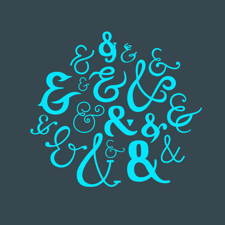 conjunction: Set of Ampersands Symbols. Handwriting Ligature. Vector icon Collection. Illustration