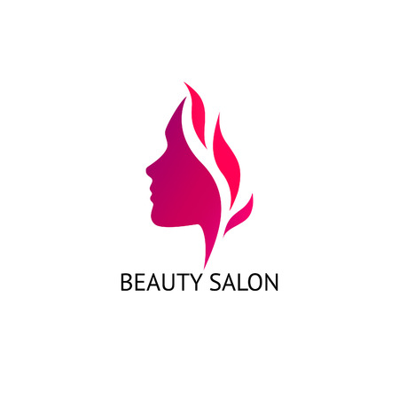 spit: Womans face silhouette. Abstract business concept for beauty salon, barber shops, massage, cosmetic and spa. Vector icon design template.