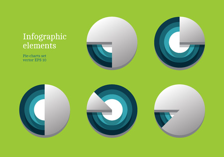 Green vector pie charts set for your infographics Illustration