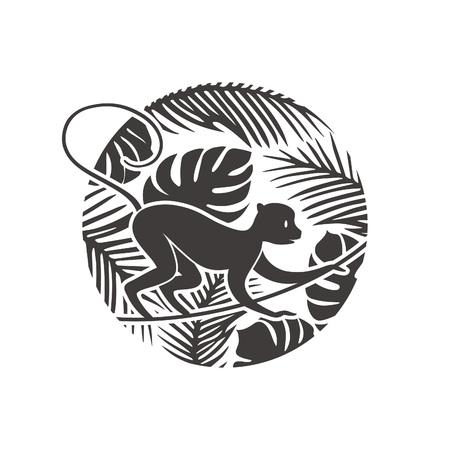 selva: Mono de Año Nuevo en la selva tropical de la ilustración. Vector de la silueta. Fondo chino del corte del papel del estilo.