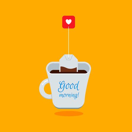 Taza Blanca lindo de la historieta del Té con la bolsita de té en fondo amarillo brillante. Vector Ilustración Piso en tarjetas, pancartas, carteles y anuncios. Buen concepto de la mañana.